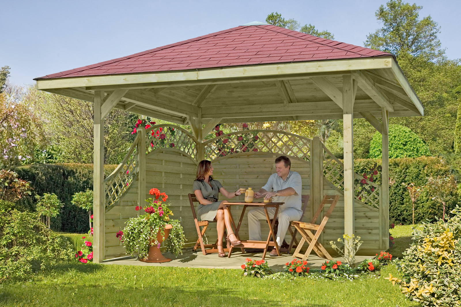 Delta Gartenholz 4 Eck Pavillon 390 X 390 Cm